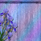The grunge wood background with flowers. Stock Photos