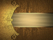 Grunge wood background with a gold plate. Element for design. Template for design. copy space for ad brochure or announcement invi Royalty Free Stock Images