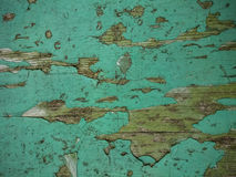 Grunge wood background with old green peeling paint. Top view Stock Photography