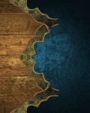 Grunge wood elements on blue texture. Template for design and for ad brochure or announcement invitation Stock Photos