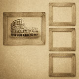 Grunge wood frame background, vintage paper texture Royalty Free Stock Photo