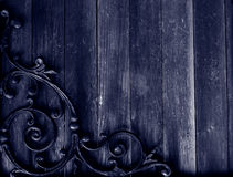 Grunge wood & wrought iron background Stock Photos