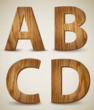 Grunge Wooden Alphabet Letters A, B, C, D. Vector Stock Photo