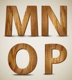 Grunge Wooden Alphabet Letters M, N, O, P. Vector Royalty Free Stock Photography