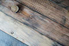 Grunge wooden background with a cork. Royalty Free Stock Photo