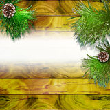 Grunge wooden background of planks with needles and pinecones covered by snow. Yellow and green cracked wooden background with needles and place for your text Stock Images