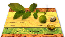 Grunge wooden background of planks with twig and walnuts Stock Photos