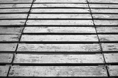 Grunge wooden black and white boards floor background. royalty free stock photography