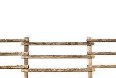 Grunge wooden fence. Wooden fence at ranch isolated over white background Royalty Free Stock Photography