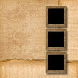 Grunge wooden frames on the musical background Stock Image