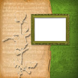 Grunge wooden frames on the  musical background Royalty Free Stock Photo