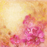 Grunge wooden texture with floral background stock photo