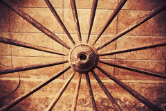 Grunge wooden wheel Royalty Free Stock Images
