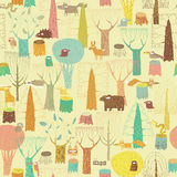 Grunge Woodland Animals seamless pattern Royalty Free Stock Photography