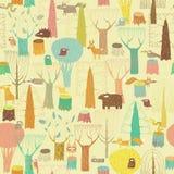 Grunge Woodland Animals seamless pattern Royalty Free Stock Photography
