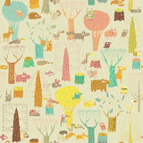 Grunge Woodland Animals seamless pattern. In colors is hand drawn grunge illustration of forest animals. Illustration is in eps8 vector mode, background on Royalty Free Stock Photography