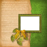 Grunge woodwn frame. On the abstract musical background Royalty Free Stock Image