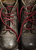 Grunge Work Boots. Very worn out and creased Stock Photo