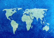 Grunge world map. Blue and green grunge world map background stock photos