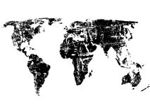 Grunge world map. Black grunge world map on a white background. Vector illustration Stock Images