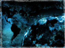 Grunge world map. Computer designed grunge textured world map Royalty Free Stock Photos