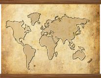 Grunge world map. Abstract illustration of the world map in old grunge style with wooden frame Stock Images