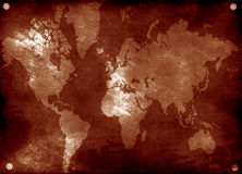 Grunge world map. Computer designed highly detailed grunge textured world map Royalty Free Stock Photo