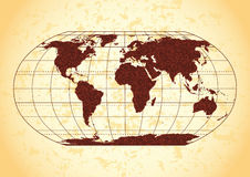 Grunge world map. Retro world map with grunge paper background Stock Photo