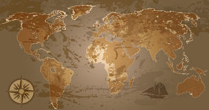 Grunge world map. Grunge, rustic world map, raster version of illustration Stock Images