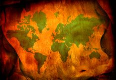 Grunge world map. With warm tones and green Royalty Free Stock Photography
