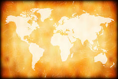 Grunge World Map. World Map On a Grunge Background Frame Royalty Free Stock Photography