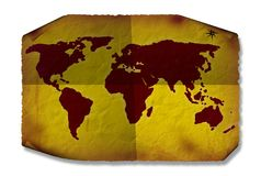 Grunge World Map Stock Images