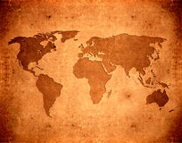 Grunge world map. Brown leather aged grunge world map Stock Photos