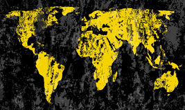 Grunge world map. On a black background Royalty Free Stock Photos