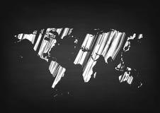 Grunge world map on black chalkboard Royalty Free Stock Photos