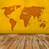 Grunge world map room Stock Photo