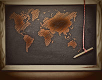 Grunge world map sketch Stock Photography
