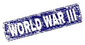 Grunge WORLD WAR III Framed Rounded Rectangle Stamp royalty free illustration