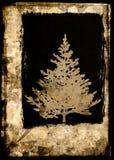 Grunge Xmas tree postcard - brown Royalty Free Stock Images