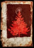 Grunge Xmass tree postcard - red Royalty Free Stock Image