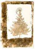 Grunge Xmass tree postcard - sepia. Mixed media illustration of christmass tree postcard Royalty Free Stock Image
