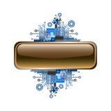 Grunge y bandera o botón de alta tecnología del vector. Imágenes de archivo libres de regalías