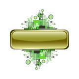 Grunge y bandera o botón de alta tecnología del vector. Imagen de archivo libre de regalías