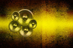 Grunge yellow audio speakers Royalty Free Stock Photo