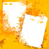 Grunge yellow background. With white sheets for letter Royalty Free Stock Image