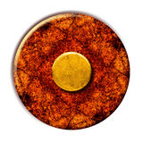 Grunge Yellow Button. This is a vintage grunge yellow button on a rusty surface stock photo