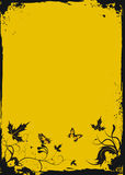 Grunge yellow floral frame with butterflies. Vector illustration royalty free illustration