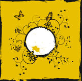 Grunge yellow floral frame with butterflies. And flowers vector illustration