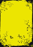Grunge yellow floral frame with butterflies. Vector illustration stock illustration