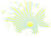 Grunge yellow sun rays in blue sky Stock Images